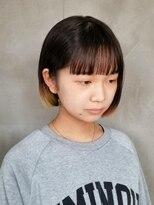 テトヘアー(teto hair)ミニボブ 毛先カラー グラデーション ボブ パッツン前髪