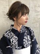 アフロート上田大人かわいいラベンダーカラー着物ヘア#おくれ毛