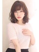 ひし形シルエット柔らかパーマ グレージュカラー 【山岡未夢】