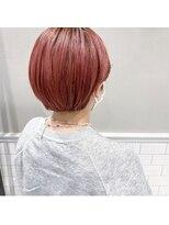 フェン ヘアーアイス(Fen.hair ici)ブリーチ ダブルカラー ピンクオレンジ ショートヘア