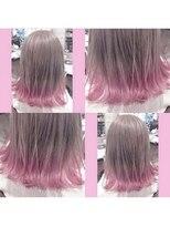 ピンクグラデーションピンクアッシュ 裾カラー ポイントカラー