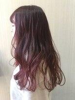 秋冬カラー 暗髪 ブリーチ グラデーションカラー ボルドーピンク