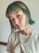エンクス(enx)外ハネボブ×グリーンカラー 横浜鶴ヶ峰美容室