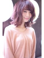 [vicushair]春髪pink×グレージュ×ラフ外巻きロブ
