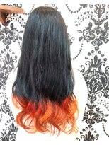 グラデーション×オレンジ×黒髪