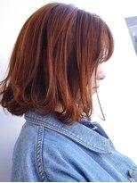 ヘアメイク オブジェ(hair make objet)オレンジなパッツリボブ