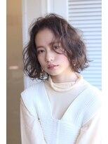 【soy-kufu】ブラウンテイストのラベンダーカラー パーマ風ボブ