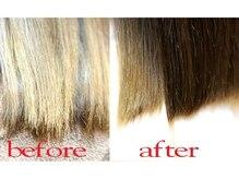 アチーブ ヘアークリエイト(achieve HAIR CREATE)の雰囲気(枝毛カットでカラーをした髪でも指通りなめらか、美髪に一歩前進)
