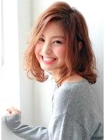ピノ ウメダ(Pinot UMEDA)クラシカルミディ☆やわふわミルクティーカラー×エアウェーブ
