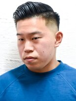 メリケンバーバーショップ(MERICAN BARBERSHOP)七三オールバックツイストパーマかき上げヘアコンマヘア