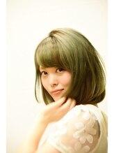 アンシー ヘア デザイン(an-cie hair design+)【NEW】☆ワンカールボブ×オリーブベージュ×斜めバング☆