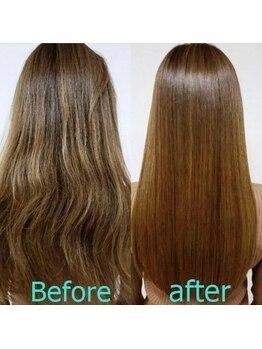 """ヘアアンドビューティー クローバー(Hair&Beauty Clover)の写真/【SNSやメディアで話題】艶々・サラサラ感が凄い!""""酸熱トリートメント""""で滑らかでまとまりやすい美髪に♪"""