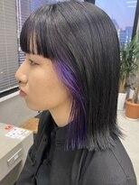 テトヘアー(teto hair)モード インナーカラー 紫 パープル ワイドバング