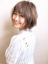 【Agu hair fonte】小顔かわいいショートボブ 外ハネ グレージュ