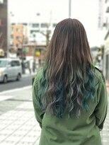《佐藤style》ビビットインナーカラー☆緑&銀&青紫ミックス