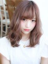【田村】厚め前髪ピンクベージュフリンジウェーブデジタルパーマ