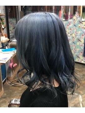 ロコマーケット 下北沢店(hair meke Deco.Tokyo)デザインカラー☆ブルーネイビー