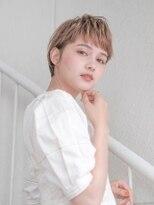 オーブ ヘアー ニア 御茶ノ水店(AUBE HAIR nia)【AUBE HAIR】ピンクベージュ×ベビーバングショート
