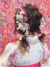 ヘアメイクサロン シャルメ(Hair Make Salon CHARMER)和装でも可愛い!!フワッフワ編みおろしツイン!