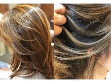 ロータスヘア(LOTUS HAIR)の雰囲気(『バレイヤージュ』シングル、ブラウン、ベージュ系 )