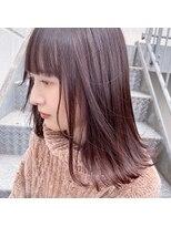 キアラ(Kchiara)シンプルな外ハネピンクミディアム【福岡大名Kchiara瀧本】