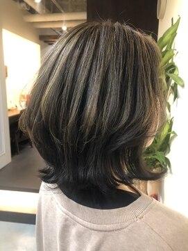 ノル(nol hair&spa)ウルフボブ×ハイライトグレーアッシュ