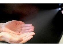 施術時においてスタッフの手指消毒を実施