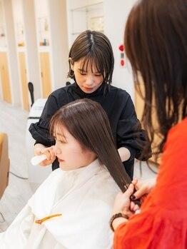 アドラーブル 駅南店(adorable)の写真/女性の髪質を知り尽くしたサロンだから◇こだわる薬剤で、髪にたっぷり保湿ケアします◆
