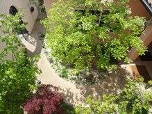 ばら色めがねの雰囲気(お店に続く素敵な中庭♪)