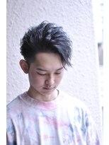 ゆるめ波ウェーブ黒髪アシメ風アップバング【BLAZE 大庭】