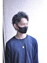黒髪アップバングツーブロック束感ショート【BLAZE 大庭】