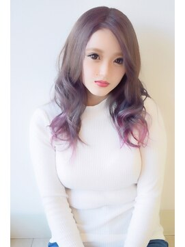 ヘアールームシュシュ(hair room chou-chou)ピンクパープル+アッシュのグラデーション
