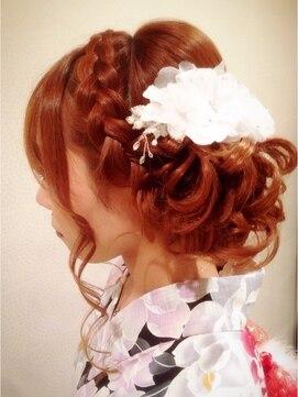 結婚式 髪型 和装 編みこみアップスタイル