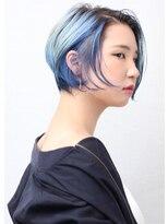 ピークアブー アヴェダ 池袋東武(PEEK-A-BOO AVEDA)透明感ブルー×ハンサムグラボブ ブリーチカラー