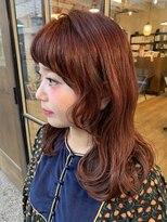 ヘアー アイス カンナ(HAIR ICI Canna)ピンクブラウン×セミロング×艶カラー
