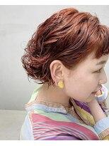 テトヘアー(teto hair)ミニボブ 赤髪 オレンジ パーマ ボブ レッド ショート
