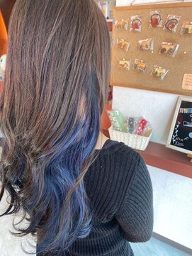 ジップヘアー(ZipHair)Zip Hair ★ブルー×インナーカラー★
