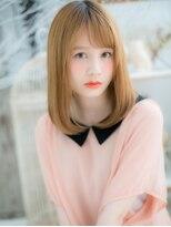 ■mod's上尾14-4■ハイトーンx斜めバング★ドーリーストレート
