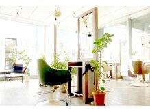 アジト ヘアーアンドリラクゼーション(AJITO HAIR&RELAXATION)の雰囲気(大きな窓で光差し込む、開放感ある店内)