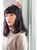ヘアーアート シフォン 池袋東口店(Hair art chiffon)モーブカラーのワイドバングで大人かわいいくびれミディ