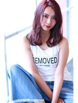 【Creo】寒色系カシスピンク#無造作カール#韓国風デザインカラー