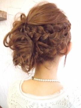 結婚式の髪型 ヘアアレンジ 編みこみアップスタイル