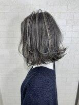アルマヘア(Alma hair)外ハネ切りっぱなしボブ☆アイスグレーアッシュブラウン