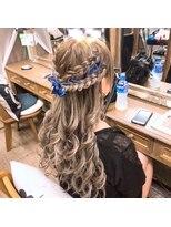 ヘアセットサロン アトリエ チャイ(Hair set salon atelier CHAI)ダブル編みハーフアップ☆リボンアレンジ