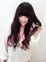 黒髪ロングピンクメッシュON