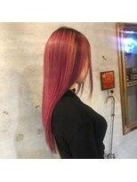 アティック ヘアーデザインアンドリラクゼーション(attic hair design&relaxation)ピンクパープル×ローライト×ベージュ×エクステ