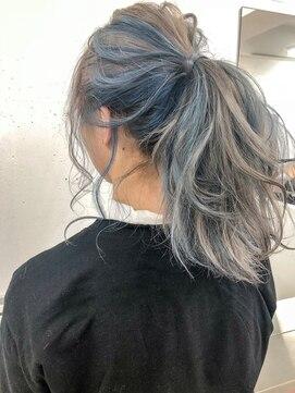 サイ(sai)〈sai〉インナーカラー ブルー×グレージュ