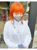 ヘアー アイス ルーチェ(HAIR ICI LUCE)オレンジ オレンジカラー ボブ 担当山中