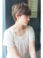 アルファ インタラクティブ エム フラワー(ALUFA interactive.M Flower)小顔グレージュ厚めバング☆ショートヘア