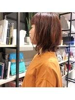 フェン ヘアーアイス(Fen.hair ici)オレンジカラー レイヤーボブ 大人かわいい